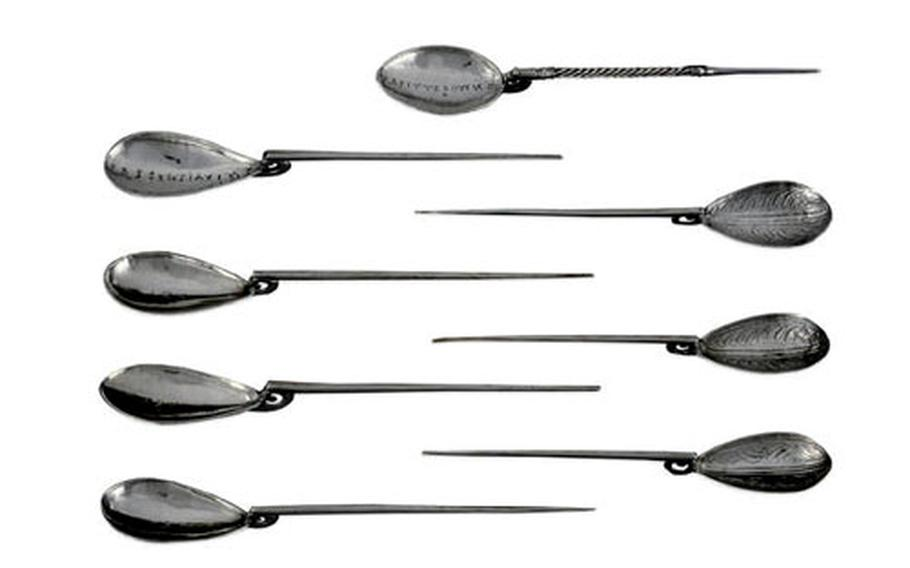 Some of the Roman silver spoons that make up part of the Mildenhall Treasure.