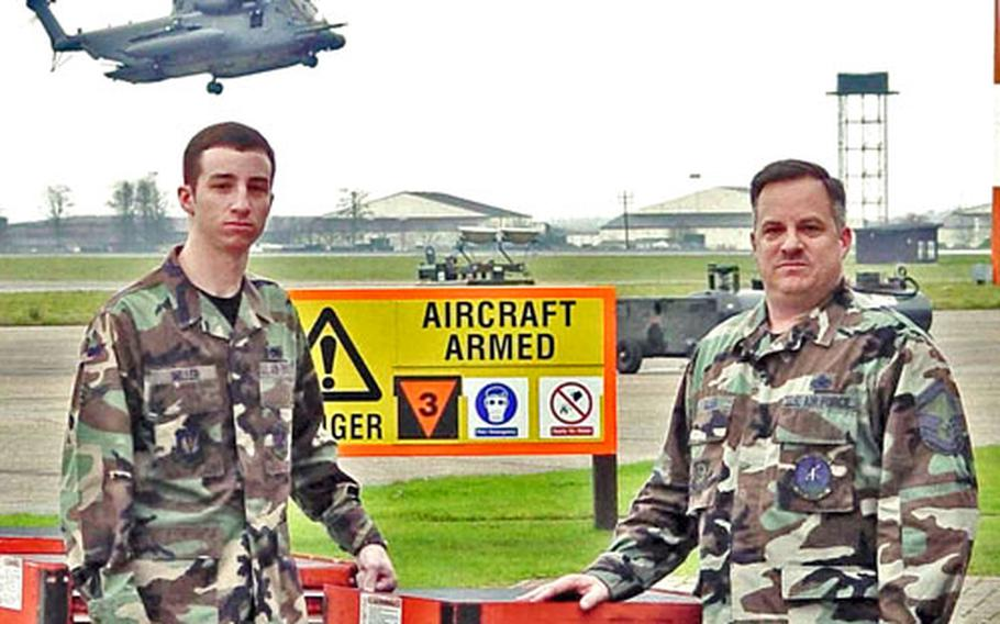 Senior Master Sgt. John Miller, right, and his son, Airman Michael Miller, are both stationed at RAF Mildenhall.