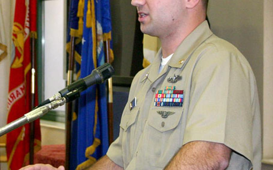Chief Petty Officer Chris Nile served as the keynote speaker during a luncheon Wednesday at Naval Support Activity Naples, Italy, that celebrated Black History Month and honored the Rev. Martin Luther King Jr.