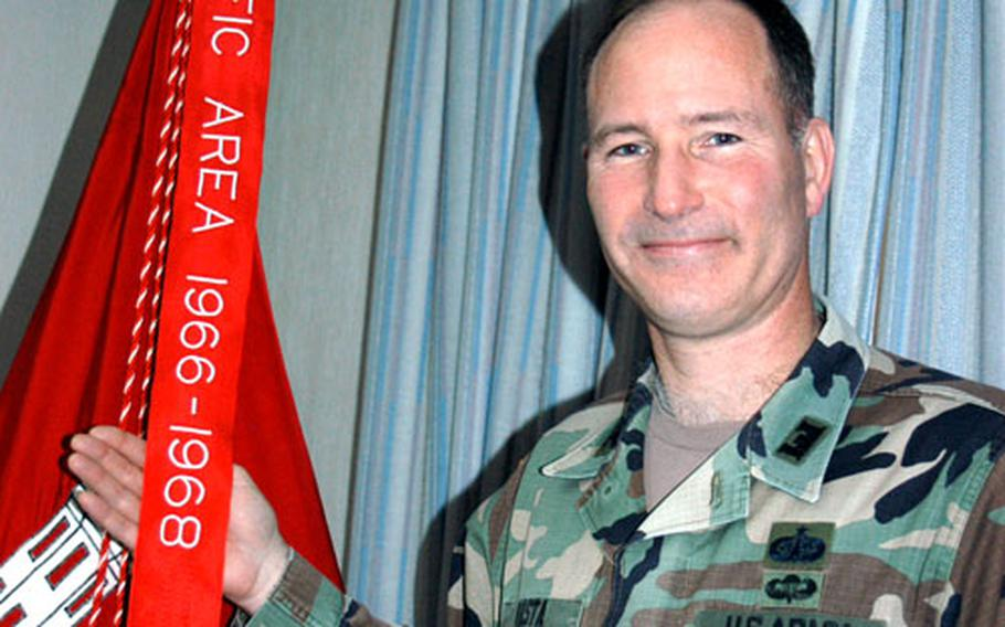 U.S. Army Corps of Engineers Japan Engineer District commander Col. Robert Vasta discovered a Meritorious Unit Commendation earned in 1969 that led to a new streamer for the unit colors and ribbons for active-duty soldiers.