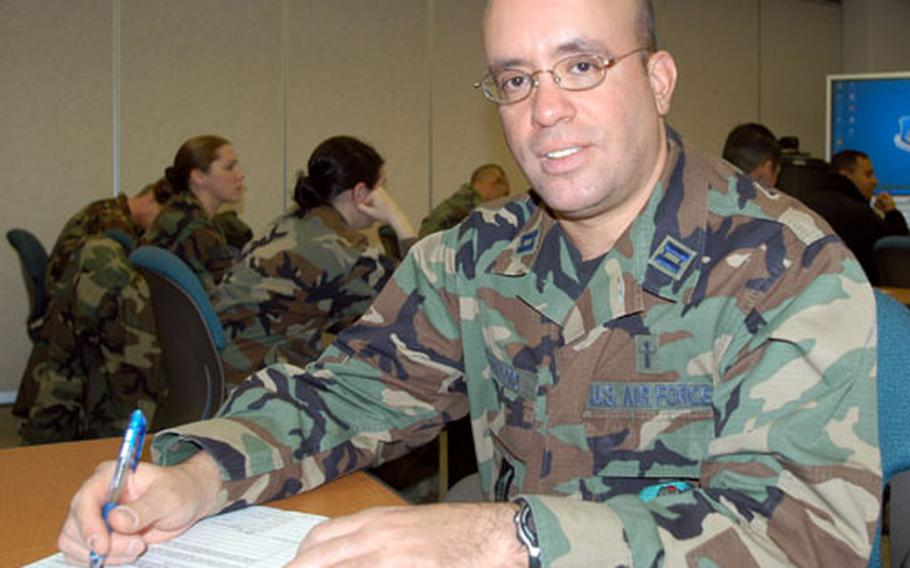 The Rev. Jose L. Del Toro, an Air Force captain and Roman Catholic chaplain at Misawa Air Base, Japan, recently returned from Kirkuk Air Base in northern Iraq.