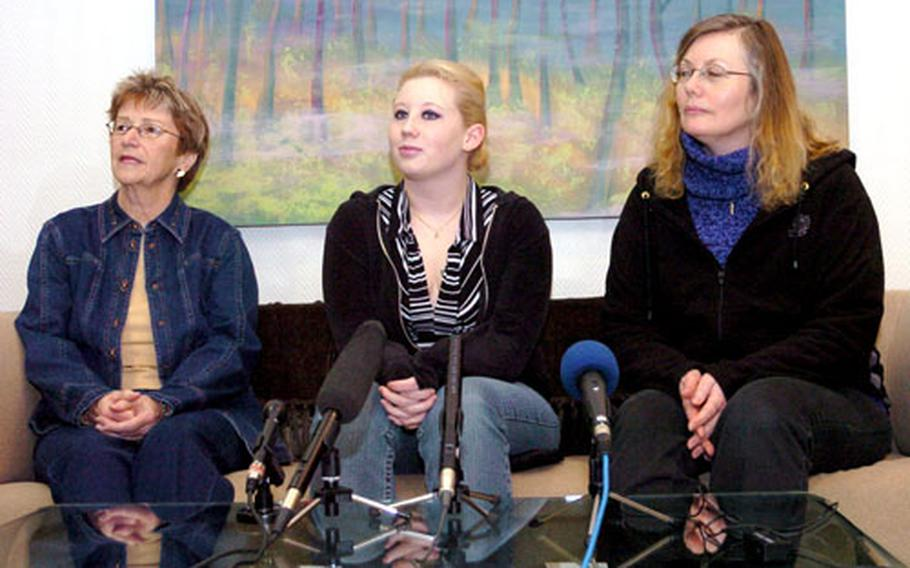 Family members of Canadian soldiers wounded in Afghanistan hold a press conference last month at Landstuhl Regional Medical Center. The seriously injured Canadian troops were receiving care at Landstuhl.