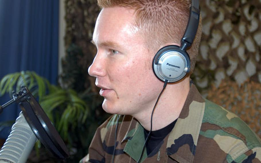 """Airman 1st Class Grant Hagman heads up the """"Misawa Morning"""" Top 40 show from 6 to 10 a.m. Monday through Friday, one of several programming changes to be more family friendly at American Forces Network radio at Misawa Air Base, Japan."""