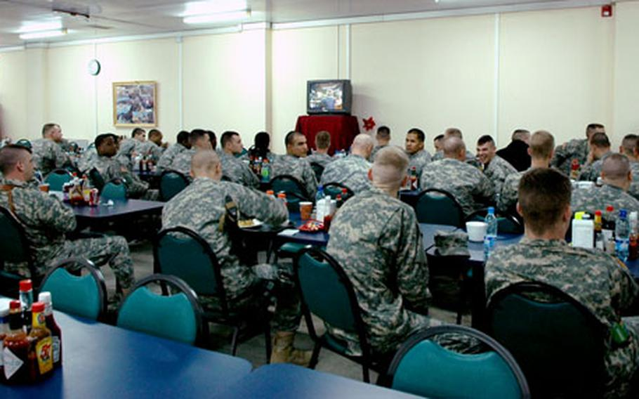 Airmen and other servicemembers watched the Super Bowl early Monday morning at Manas Air Base, Kyrgyzstan.