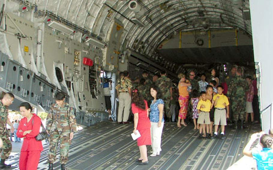 Attendees were able to get a closer look at PACAF's first C-17 after the welcoming ceremony at Hickam Air Force Base, Hawaii.
