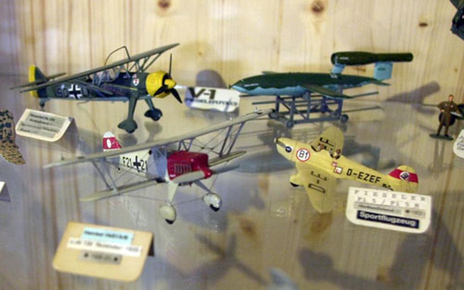 A new display at the museum features more than 150, mostly German, model airplanes.