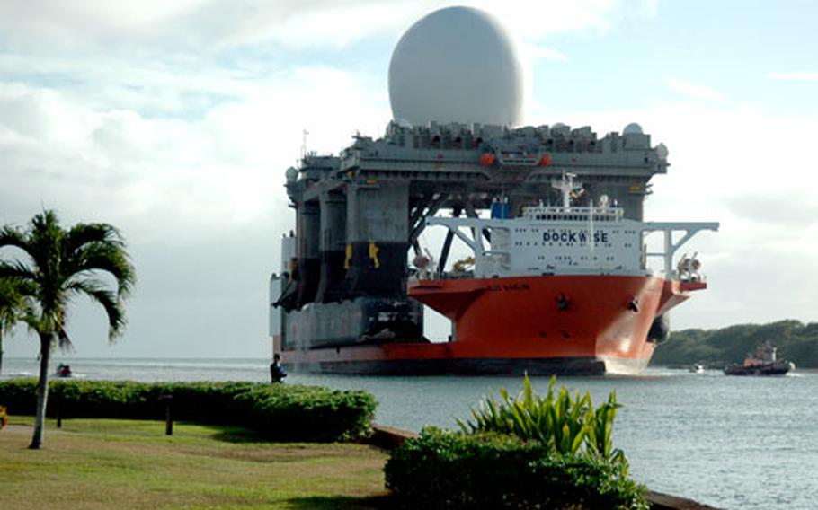 The Sea Based X-Band Radar enters Pearl Harbor, Hawaii, in January of 2006 aboard the heavy lift vessel MV Blue Marlin after completing a 15,000-mile journey from Corpus Christi, Texas.