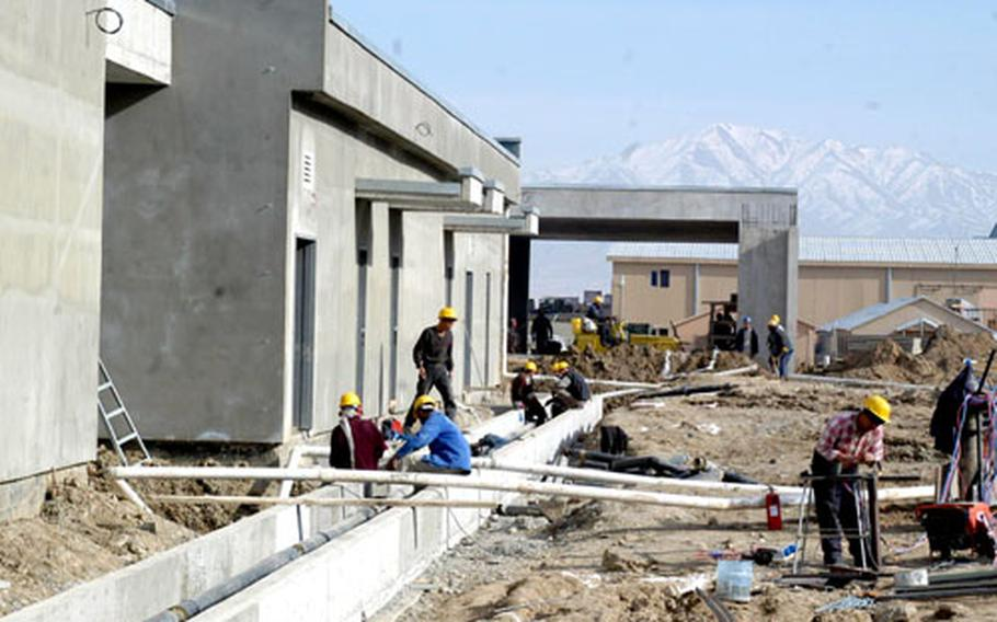A 45-bed hospital is the centerpiece of new Army construction at Bagram Air Base, Afghanistan. Zafer Construction is building the $16.5 million project, scheduled to be completed in May.