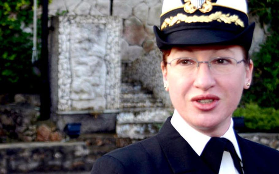 Cmdr. Nannette Roberts relinquished command of NSA Gaeta and reported the base's disestablishment on Friday.