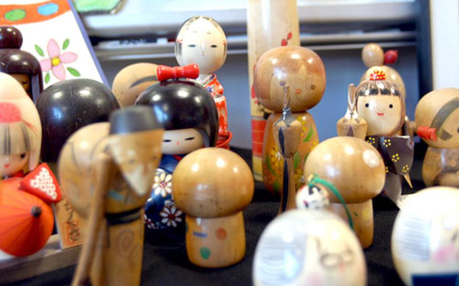 Included in the class' Japanese museum are these wooden kokeshi dolls.
