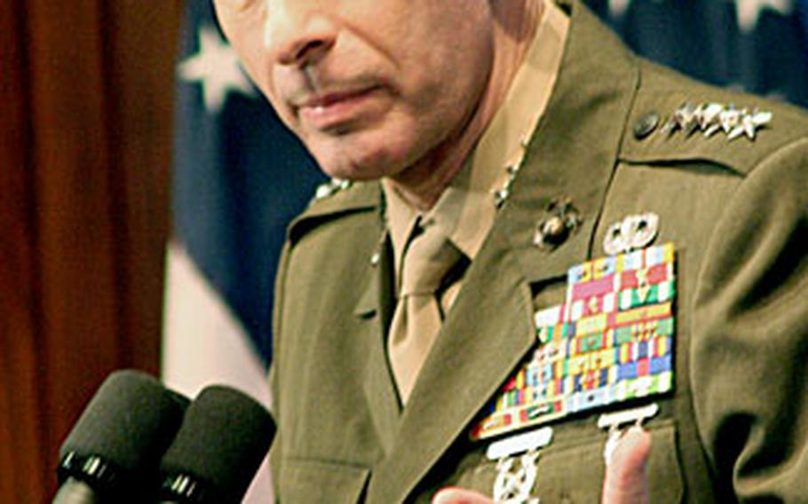 Marine Gen. Peter Pace, chairman of the Joint Chiefs of Staff, speaks at the National Press Club in Washington, D.C., on Friday.