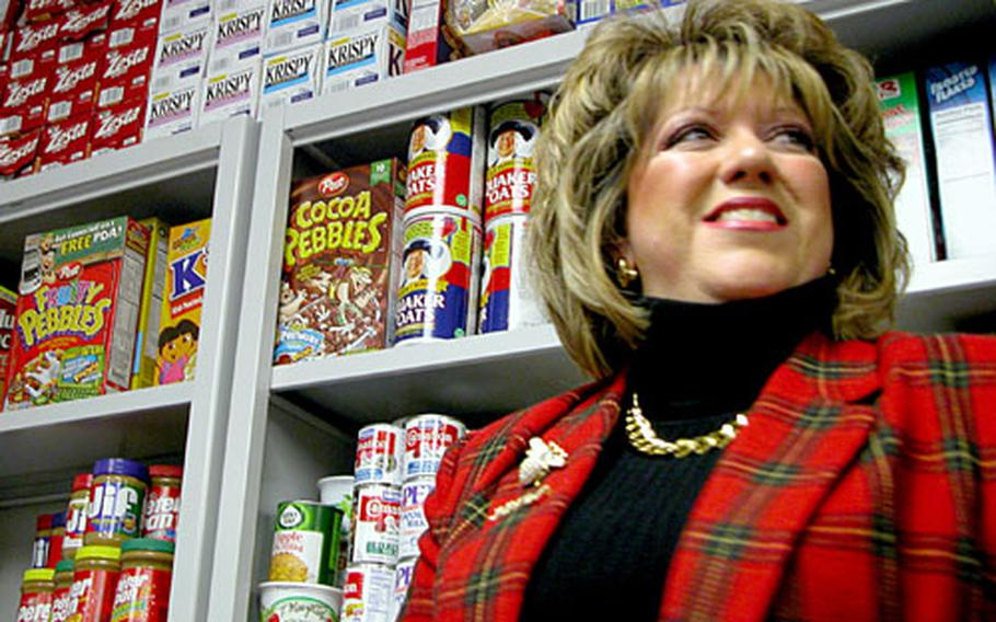 Barb Yates, wife of 31st Fighter Wing Commander Brig. Gen. Robert Yates, started a Food Pantry program at Aviano Air Base to help servicemembers and their families who have been hit by unexpected bills or other financial obligations.