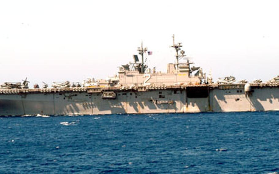 The Sasebo-based USS Essex, transits the Philippines Sea on Friday to take part in Exercise Balikatan 2006. But along with the USS Harpers Ferry and personnel from the Okinawa-based 31st Marine Expeditionary Group, the Essex changed plans to provide assistance to the victims of a recent landslide in Southern Leyte.