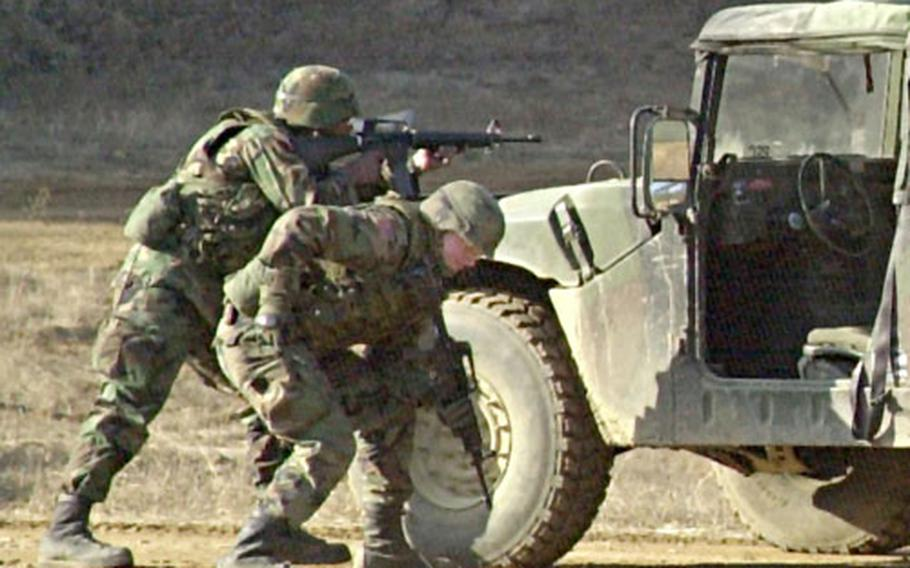 Soldiers train at Rodriguez Range, South Korea, on Friday.