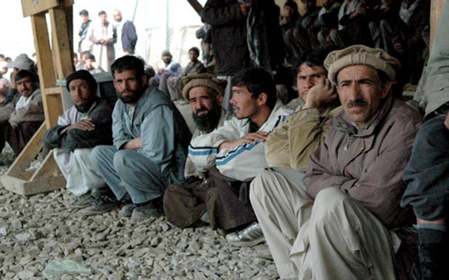 The waiting area outside Bagram Air Base in Afghanistan is full of aspiring day laborers, many who wait all day for work. CIA estimates place the unemployment rate at 40 percent; a recent U.N. estimate says it's as high as 78 percent.