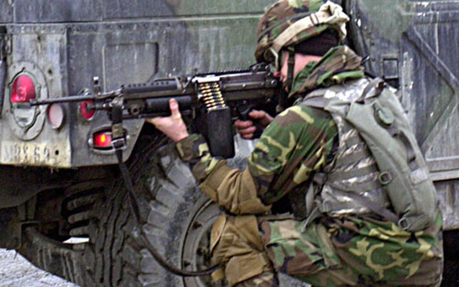 A 299th FSB soldier participates in training at Grafenwohr on Wednesday.
