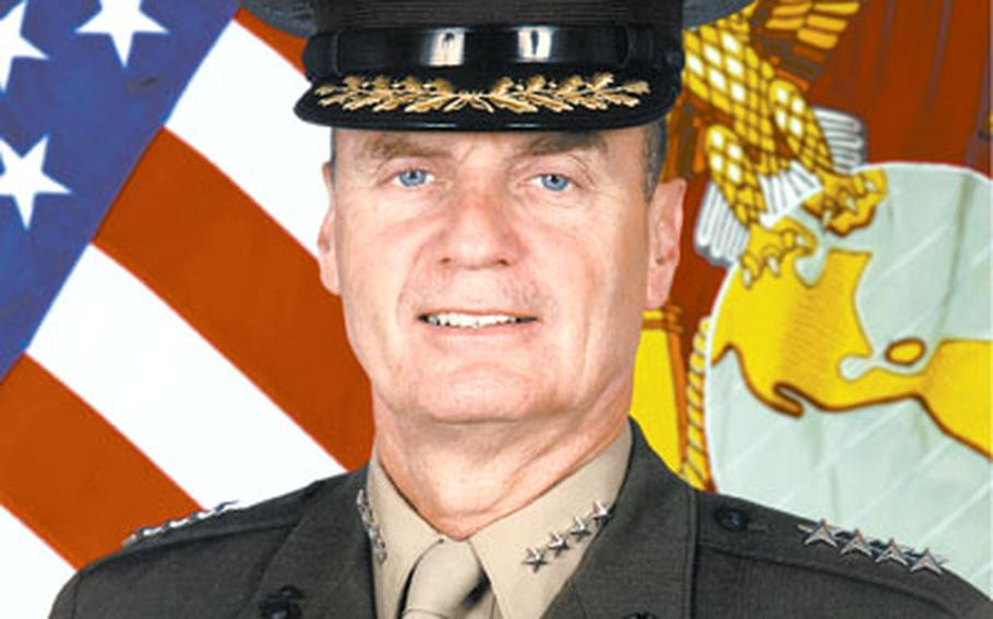 """Three people cut a hole in the fence around Patch Barracks on Aug. 9 and entered the base, an incident Marine Gen. James L. Jones, above, commander of the U.S. European Command, describes as a """"wake-up call."""""""