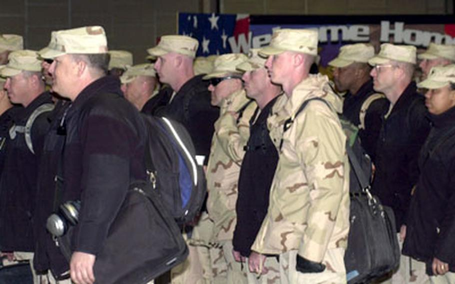 Soldiers with the 29th Support Group assemble Monday during their welcome-home ceremony in Kaiserslautern.