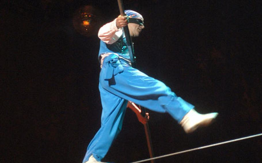 A blindfolded Highlander performs a high-wire act above the crowd at a recent Moscow State Circus show in Norwich.