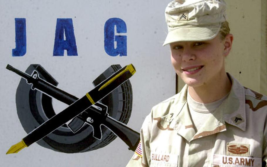 Army Cpl. Krista Bullard, a paralegal with the 37th Transportation Command out of Kaiserslautern, Germany, earned the Combat Action Badge in late January when she fired a .50-caliber machine gun during an ambush outside of Baghdad.