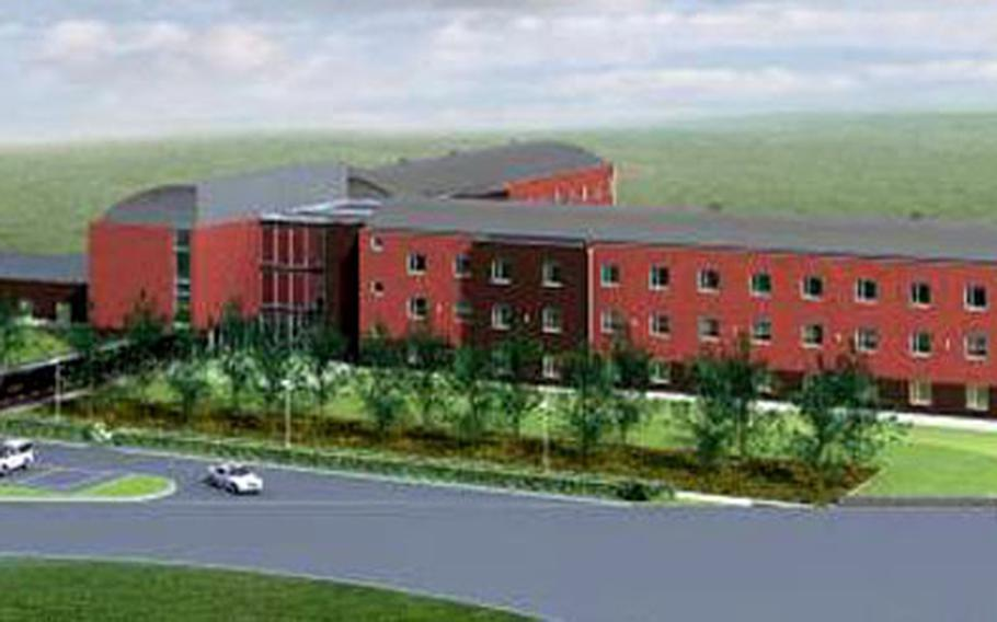 This artist's rendering shows what the new $14 million, 96-room Army lodge will look like once it is complete at Chievres Air Base, Belgium. The new lodge, expected to open this summer, is one of many building projects taking place within the Benelux region.