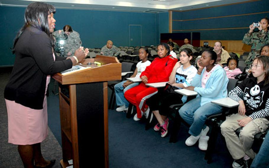 Former POW Shoshana N. Johnson speaks at Yongsan Garrison on Tuesday.