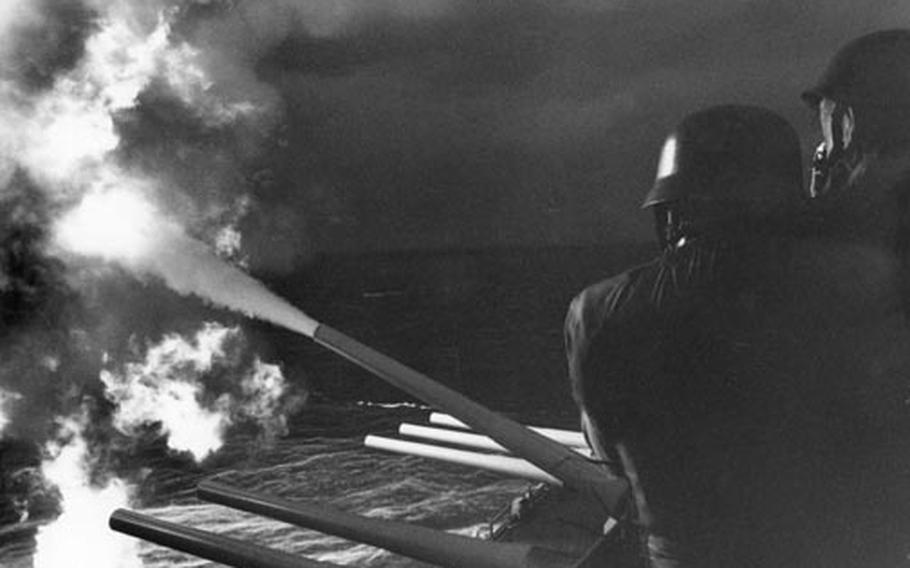 The big guns of the USS New Jersey unload on targets in Vietnam in 1968.