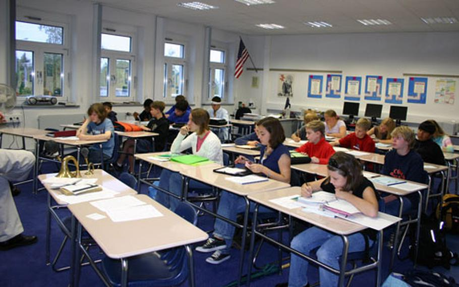 Eighth-graders at Robinson Elementary/Middle School in Stuttgart, Germany, get to work during the first week of school.