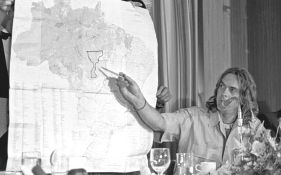 Sting points to a map showing the proposed national park in Brazil.