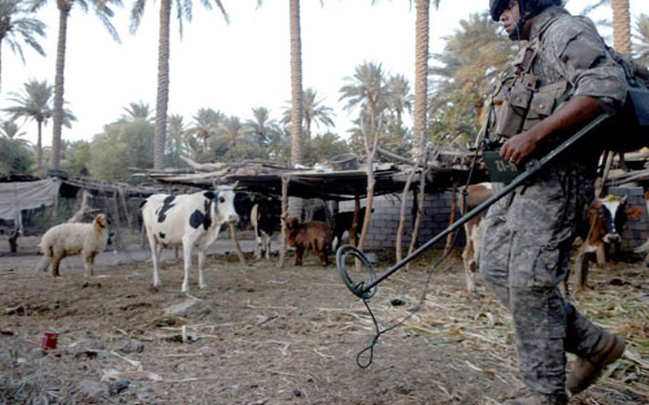 Spc. Sean Brown, 22, of Greensboro, Md., uses a metal detector to sweep for hidden weapons during a reconnaissance mission in a small village south of Baghdad.