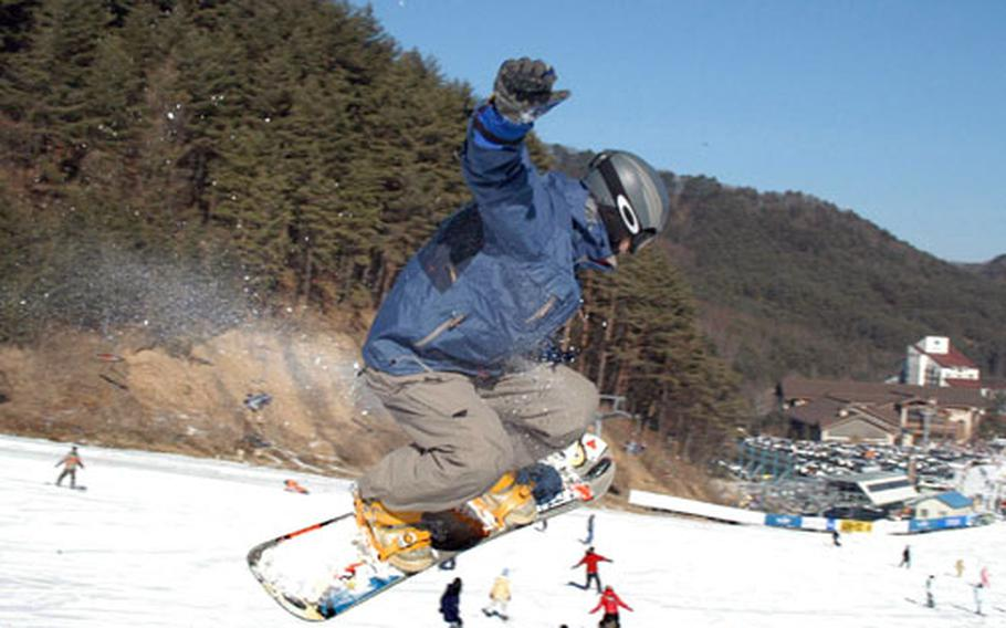 A South Korean snowboarder gets some air at Yong Pyong Ski resort southeast of Seoul.