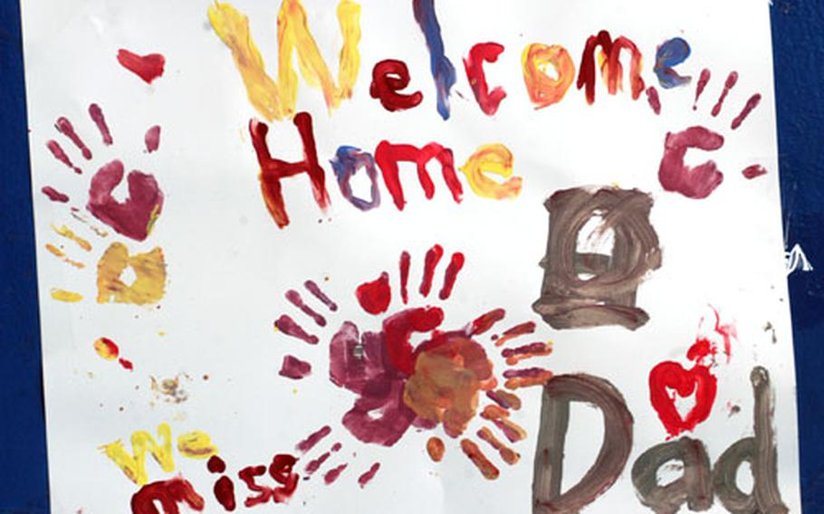 A child's heartfelt welcome-home message adorns the wall at Wiesbaden.