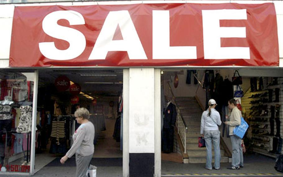 Stores such as this one, which have no obvious name but offer discount prices, can be found up and down Oxford Street, a haven for the fashionable looking for good deals.