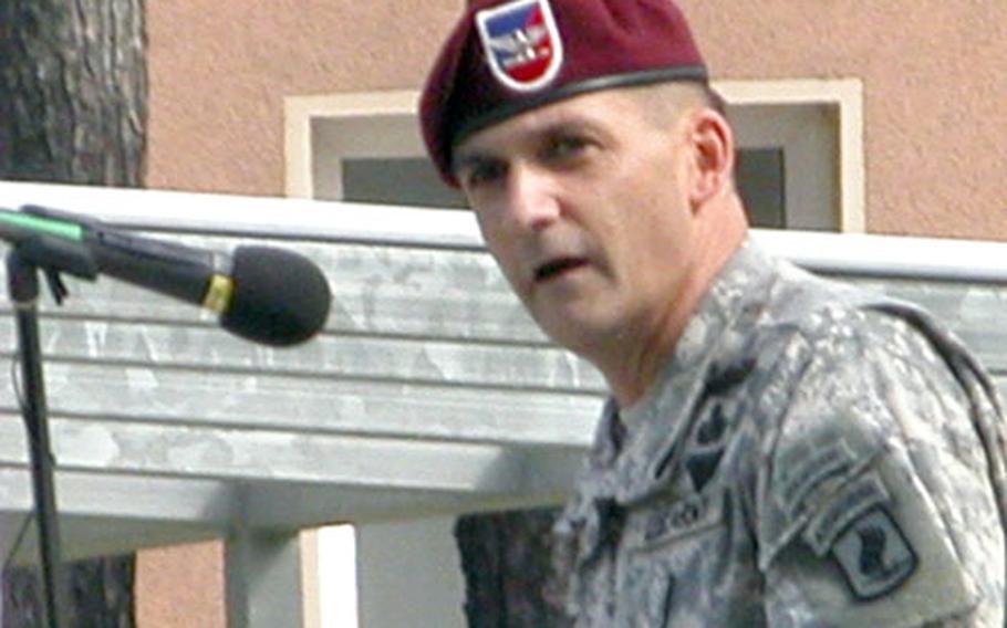 Col. Charles Preysler, the 173rd's commander, speaks at Friday's ceremony.