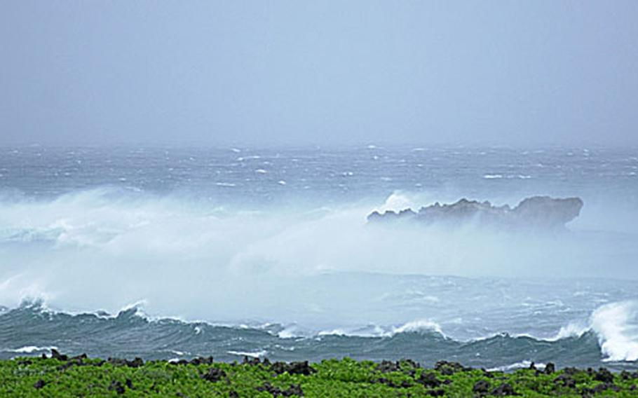At 5 p.m. Saturday, the surf pounds into the shoreline at Zanpa Point, Okinawa. All military installations were at Tropical Cyclone Condition of Readiness 1 Emergency at 5:25 p.m. Saturday with Typhoon Shanshan taking aim at Okinawa.