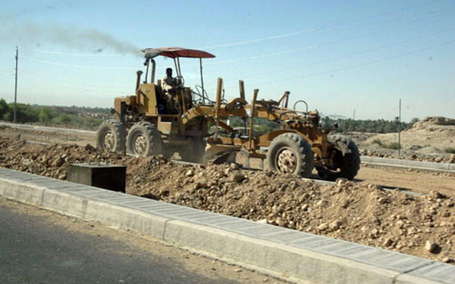 New road construction is a sign of economic growth in Najaf.