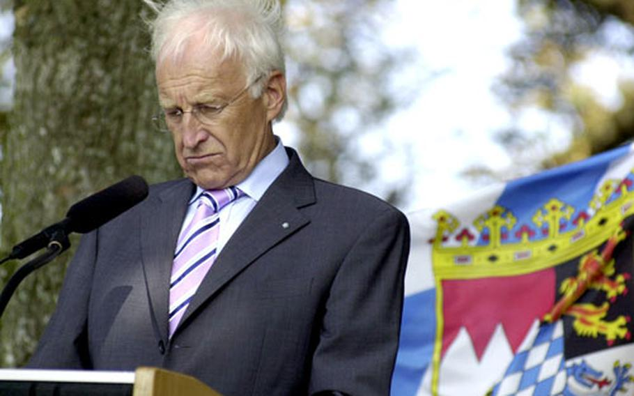 Bavarian Minister-President Edmund Stoiber speaks at a ceremony to open the new town of Netzaberg, which will house U.S. military personnel and their families at Grafenwöhr.