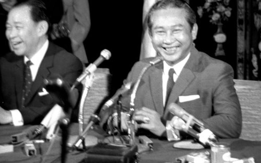 Cambodian Prime Minister Lon Nol at a press conference in Saigon in January, 1971.
