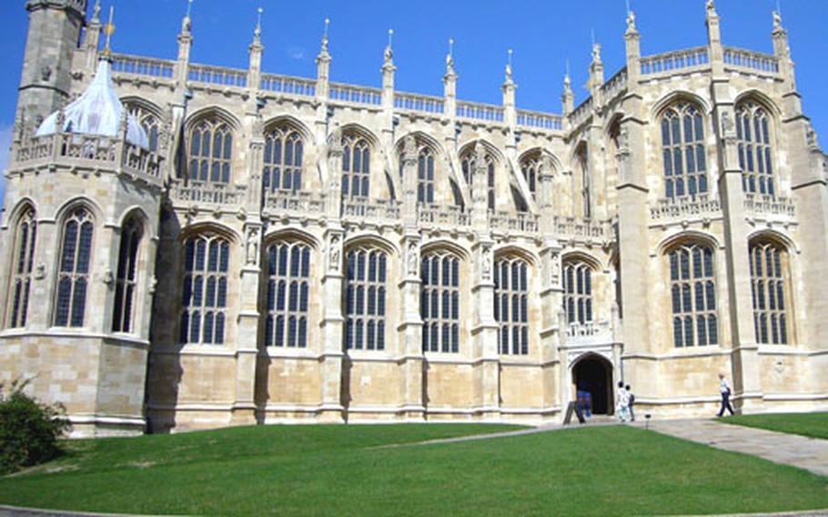 Visitors head into the 14th-century St. George's Chapel, which is part of the Windsor Castle complex.