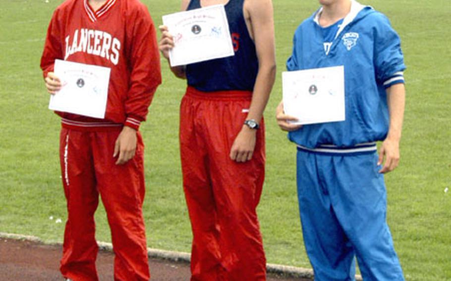 The top three finishers in Saturday's cross-country meet at RAF Lakenheath were, left to right, Greg Billington of Lakenheath, Josh Hoffman of Lakenheath and Hugh Borchers of London Central.