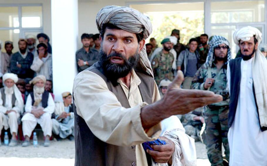 Daulat Khan complains bitterly about the local police during a shura, or meeting, held in Miri, Afghanistan on Sunday.
