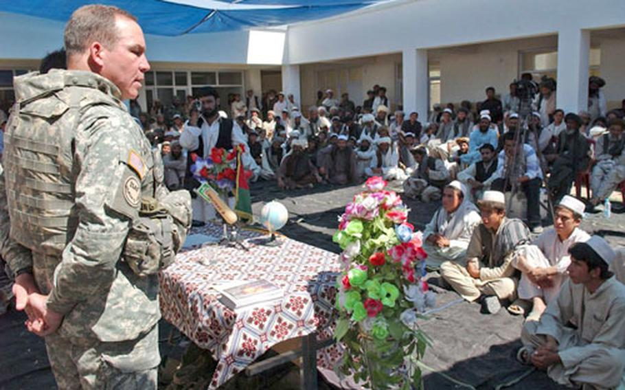Maj. Gen. Benjamin C. Freakley, commander of Combined Joint Task Force-76 in Afghanistan, talks to participants in the shura.