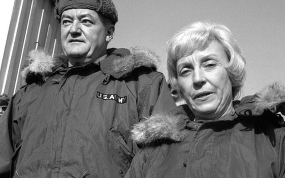 Vice President Hubert H. Humphrey and his wife, Muriel, visit the Korean Demilitarized Zone in January, 1966.
