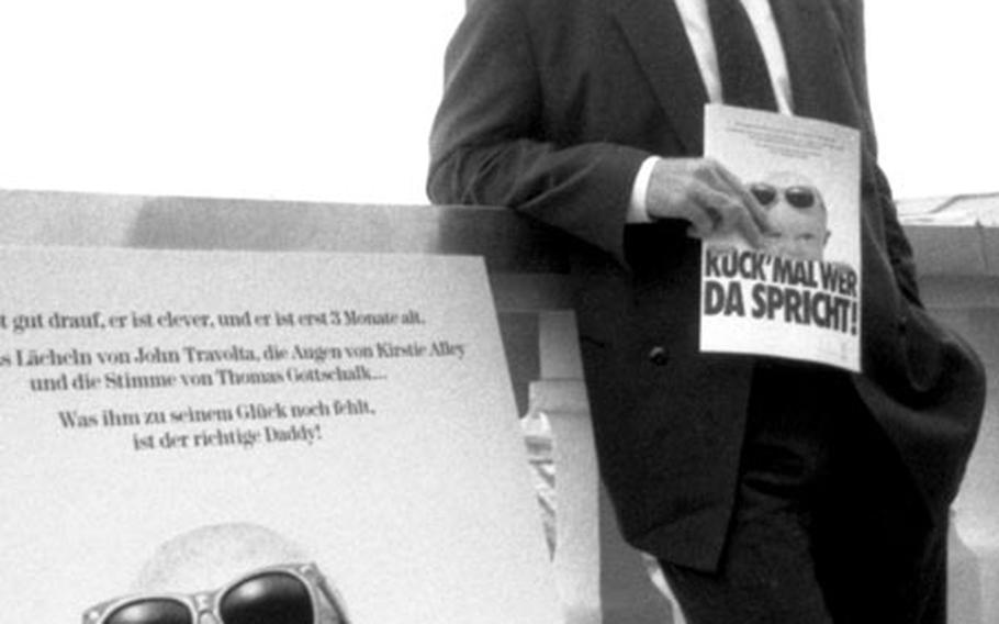 John Travolta meets the press in Munich to promote the German release of , in 1990.