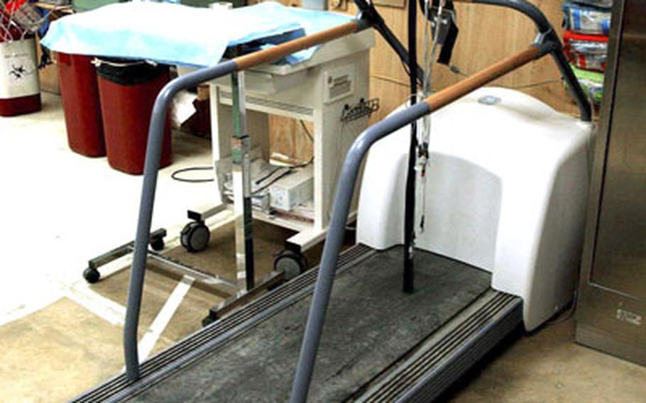 Checking patients with cardiovascular symptoms on the treadmill, often makes it unnecessary to evacuate them from the theater.