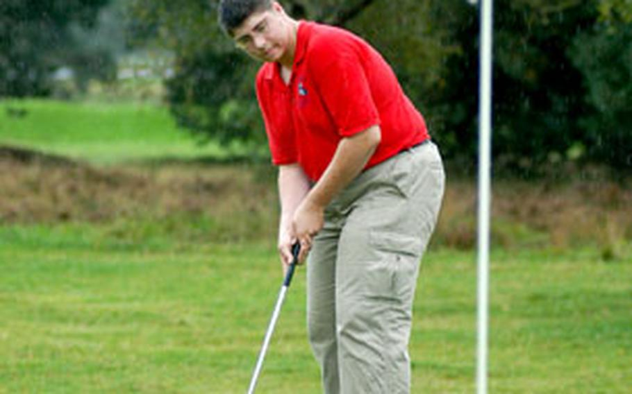 Lakenheath golfer Daniel Jones tries to sink a putt on the sixth hole during a high school tournament Friday at Breckland Pines Golf Course.