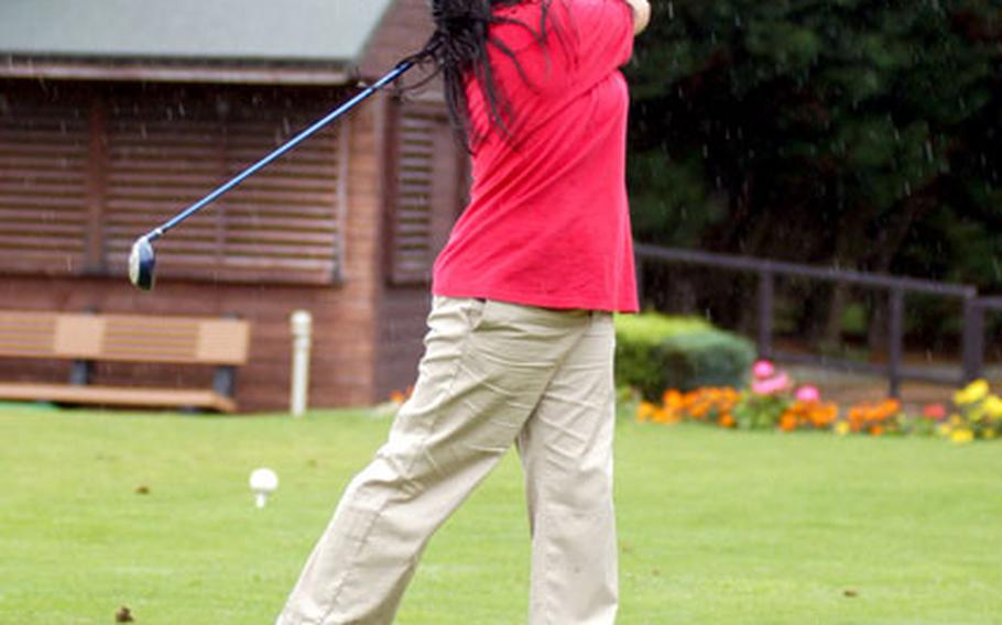 Lakenheath golfer Jennifer Ponce tees off during a high school tournament Friday at Breckland Pines Golf Course.