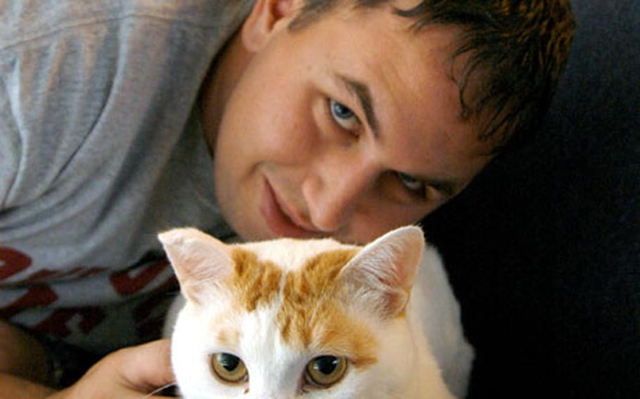 Petty Officer 3rd Class Steven Haynes, above, and his wife, Alison, are adopting Maru, a cat diagnosed with FIV, the feline equivalent of HIV. The disease, which can be transmitted only to other cats, afflicts one of every four felines in Japan.