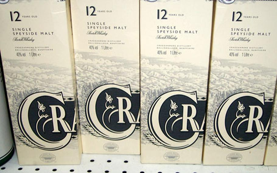 A bottle of Cragganmore 12-year-old scotch sells for $105 at the Yongsan Garrison mini-mall shoppette. The same bottle in the States would sell on special order for about $60.