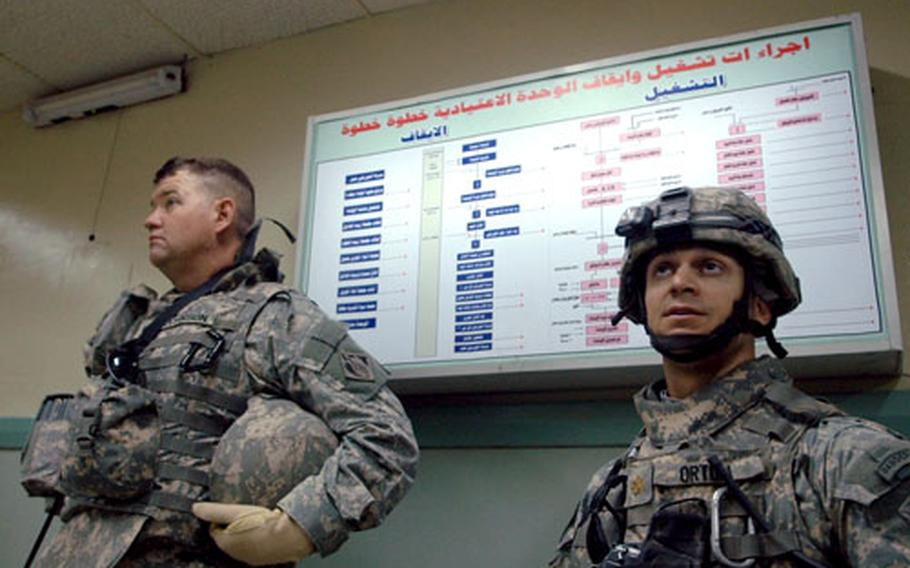Lt. Col. Dale Johnson, left, and Maj. James Ortoli, a civil affairs team leader attached to the 1-67 Armor Regiment, tour the control room of a hydroelectric dam in Seddah, Iraq, recently.